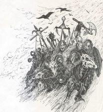 Pferde, Dunkel, Apokalypse, Reiter