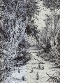 Baum, Dunkel, Kugelschreiber, Sumpf