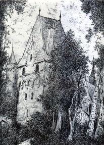 Mittelalter, Baum, ´romantik, Kugelschreiber
