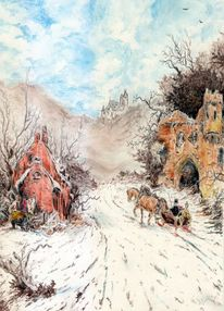 Winter, Schloss, Schlitten, Äste