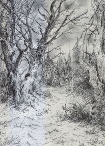 Dunkel, Baum, Alte meister, Winter