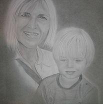Portrait, Familie, Bleistiftzeichnung, Kind