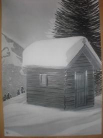 Winter, Hütte, Tanne, Berge