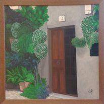 Pflanzenarten, Rose, Kachel, Tür