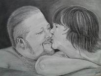 Paar, Portrait, Kette, Zeichnung