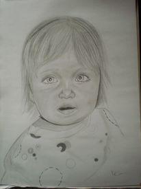 Mädchen, Bleistiftzeichnung, Baby, Kind