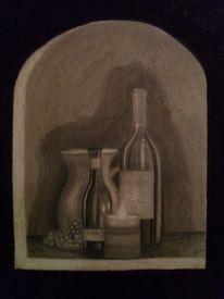 Flasche, Kerzenschein, Stillleben, Vase