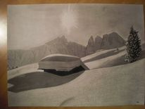Sonne, Zeichnung, Radiergummi, Hütte