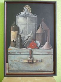 Stillleben, Blech, Alt, Ölmalerei