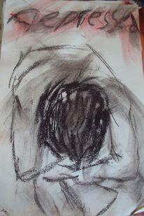 Mann gekrümmt traurig, Malerei, Menschen