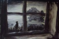 Menschen, Schwarz, Melancholie, Fenster