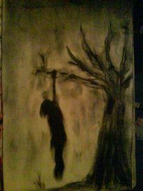 Erhängt, Schwarz, Baum, Tod