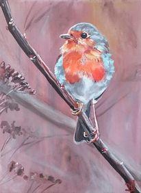 Äste, Rotkehlchen, Vogel, Malerei