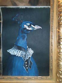 Pfau blau, Malerei, Figural, Pfau