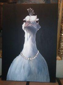Weiß, Pfau, Perlenkette, Malerei