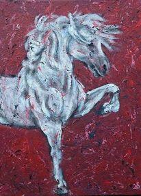 Hengst, Pferde, Schimmel, Malerei