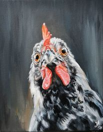 Henne, Hühnerbild, Huhn, Malerei