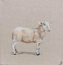 Naturleinwand, Bauernhoftiere, Schaf, Malerei