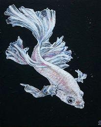 Fisch weiss, Malerei, Weiß