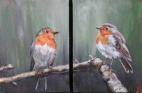 Vogel, Äste, Rotkehlchen, Malerei