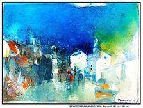 Hamburg, Blau, Häuser, Acrylmalerei