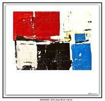 Blau, Weiß, Acrylmalerei, Rot schwarz