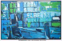 Elbe, Acrylmalerei, Gelb, Licht