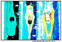 Moderne kunst, Berlin, Silhouette, Blau