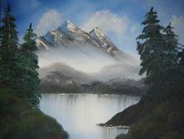 Nass, Ölmalerei, Malerei, Bergsee