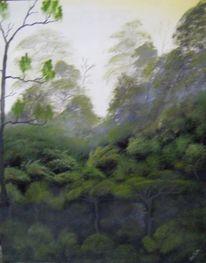 Ölmalerei, Urwald, Nass, Technik
