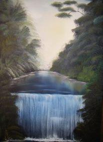 Fluss, Nass, Tehnik, Ölmalerei