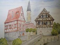 Stadtmauer, Stadt, Aquarellmalerei, Gaildorf