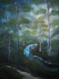 Nass, Wald, Technik, Ölmalerei