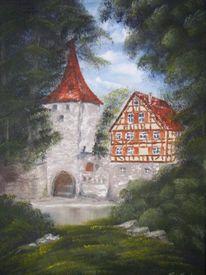 Schwäbisch hall, Kocher, Ölmalerei, Nass