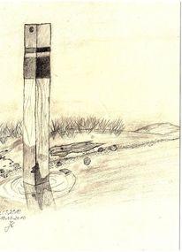 Nordsee, Meer, Flutpfahl, Sand