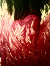 Herz im feuer, Malerei, Flammen, Herz