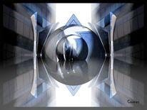 Digitale kunst, Abstrakt, Architektur, Blau
