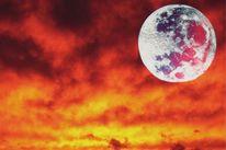 Sonnenuntergang, Azur, Himmel, Mond