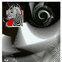 Zebra, Spirale m muster, Dekoration, Weiß