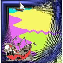 Schiff, Endzeit, Bilderrahmen, Alptraum