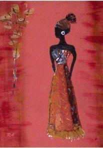 Dunkelhäutige frau, Massai, Frau, Blumen