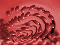 Abstrakt rote plättchen, Fraktalkunst, Leben, Digital