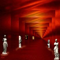 Ausstellung holz, Weiß, Begegnung, Rot schwarz