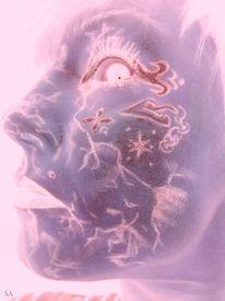Geheimnissvoll, Violett, Ufo, Gemälde