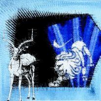 Antilope, Löwe, Blau, Jagdszene