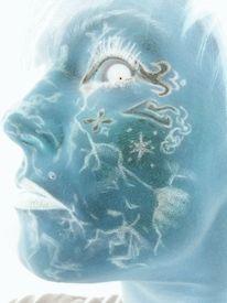 Utopie, Weltall, Blau, Gesichtpainting