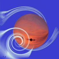 Himmelskörper, Zukunft, Digital, Postkarte