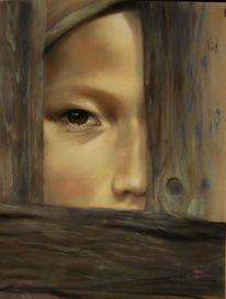 Schatten, Kind, Portrait, Zaun