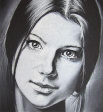Portrait, Pastellmalerei, Frau, Malerei