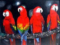Tiere, Vogel, Ölmalerei, Rot